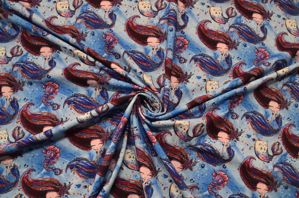 Кулирная гладь набивная с лайкрой Русалки на синем, фото 1