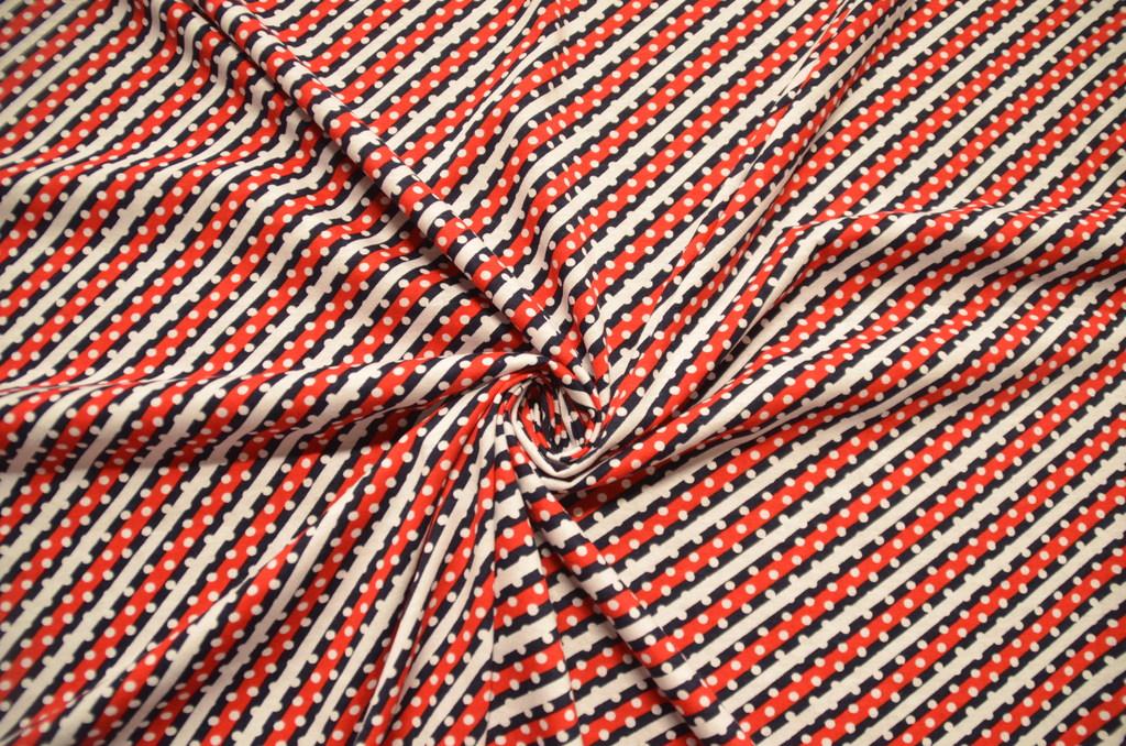 Кулирная гладь набивная рулон Красная диагональная полоска, фото 1