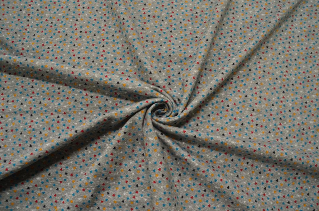 Футер 2-х нитка набивной с начёсом рулон Треугольники на сером, фото 1