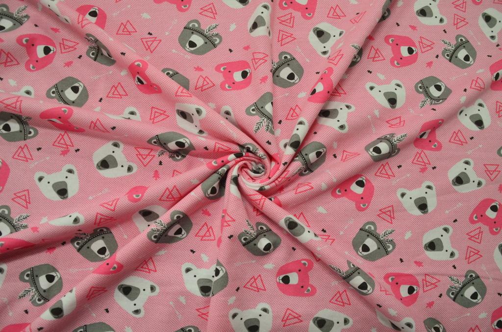 Футер 2-х нитка набивной с начёсом рулон Мишки и треугольники на розовом, фото 1