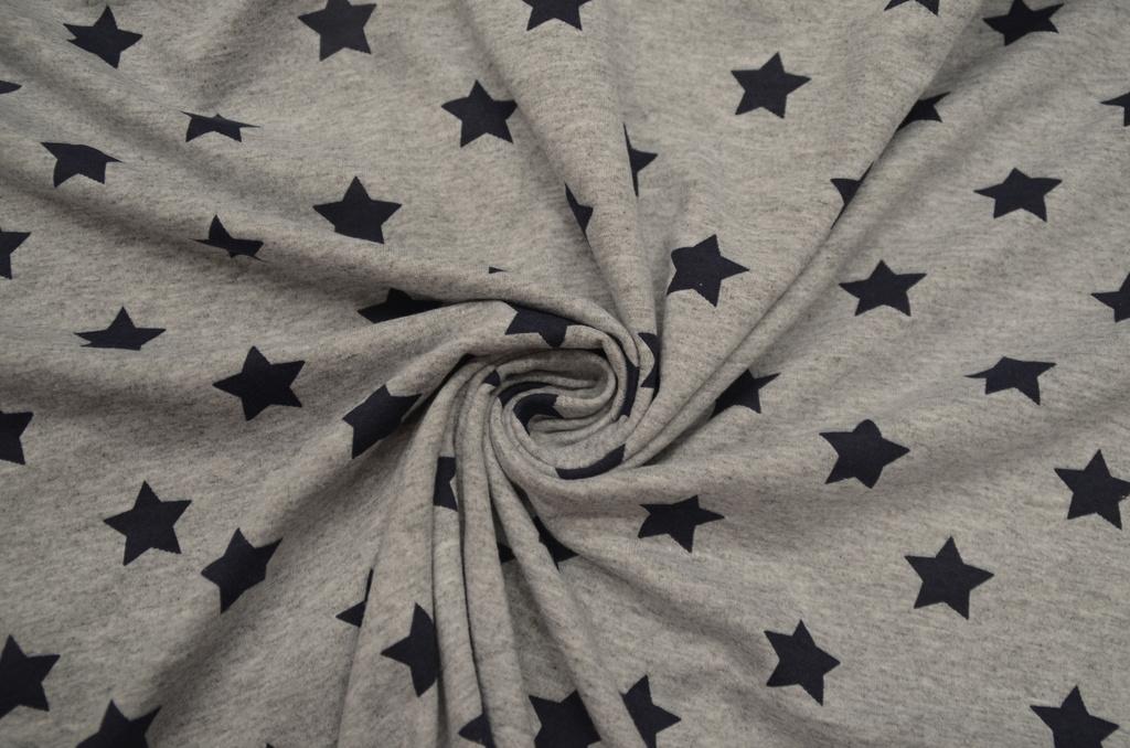 Кулирная гладь набивная пачка Тёмно-синие звезды на сером меланже, фото 1