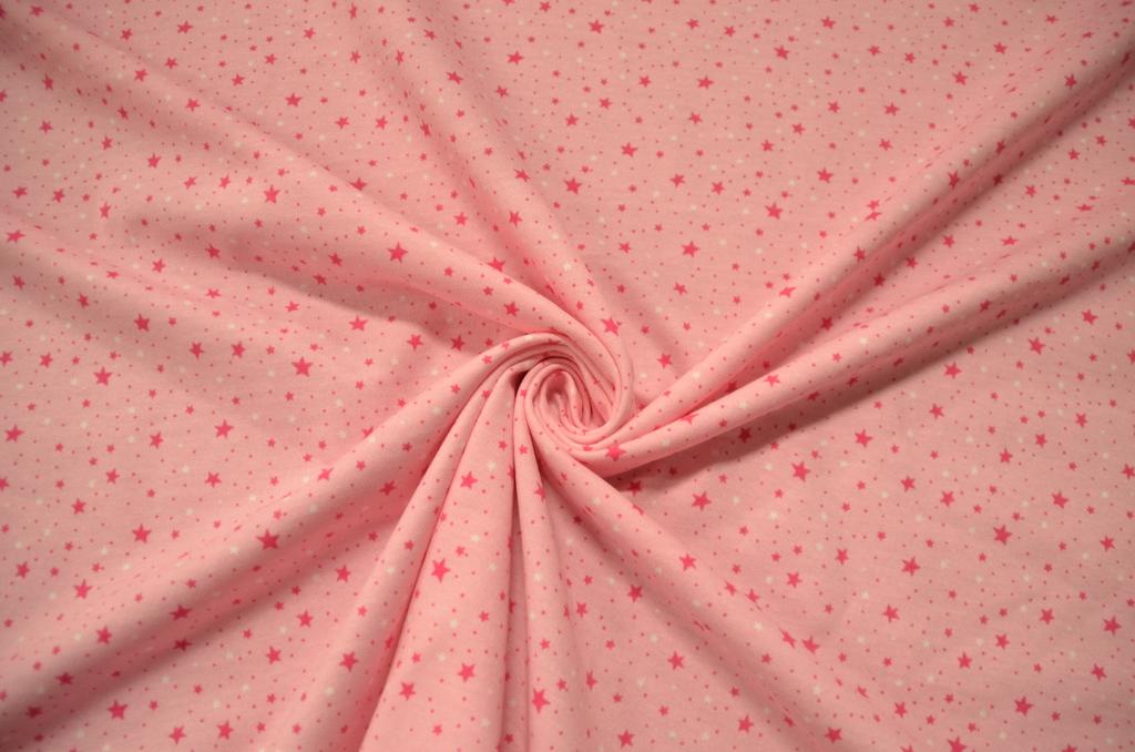 Футер 2-х нитка набивной с начёсом рулон Звезды на розовом, фото 1