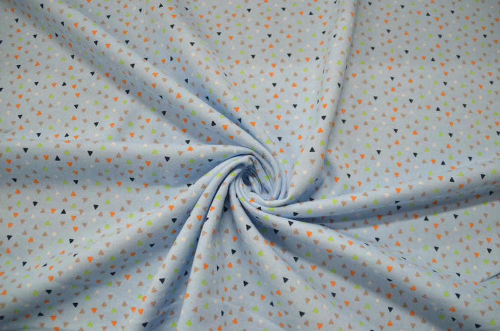Футер 2-х нитка набивной с начёсом рулон Маленькие треугольники на голубом, фото 1